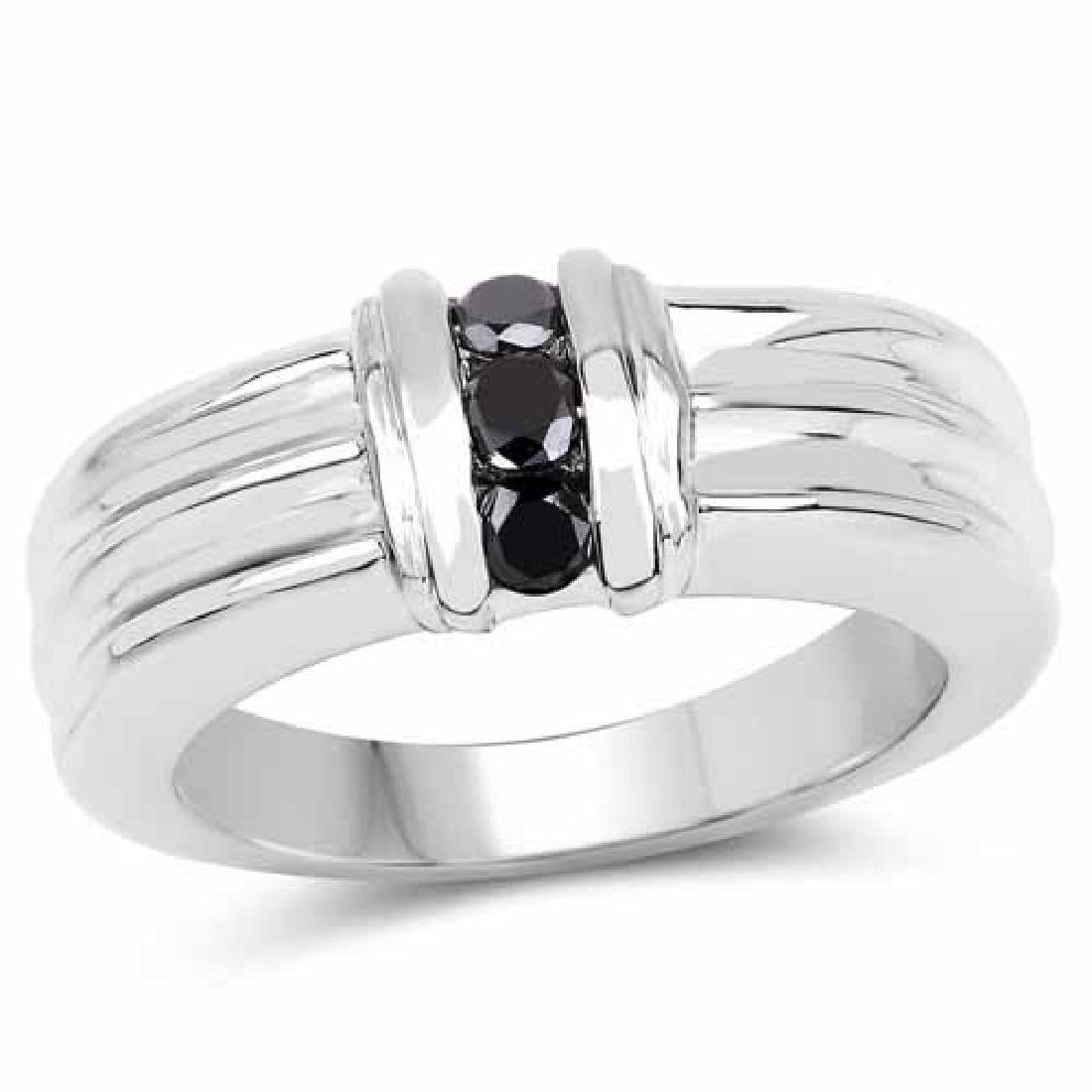 0.24 Carat Genuine Black Diamond .925 Sterling Silver R