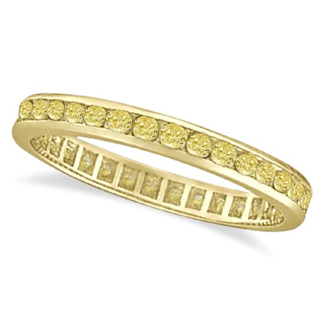 Channel Set Yellow Canary Diamond Eternity Ring 14k Yel