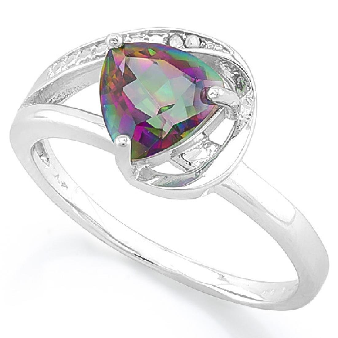 1 1/5 CARAT MYSTIC GEMSTONE & DIAMOND 925 STERLING SILV