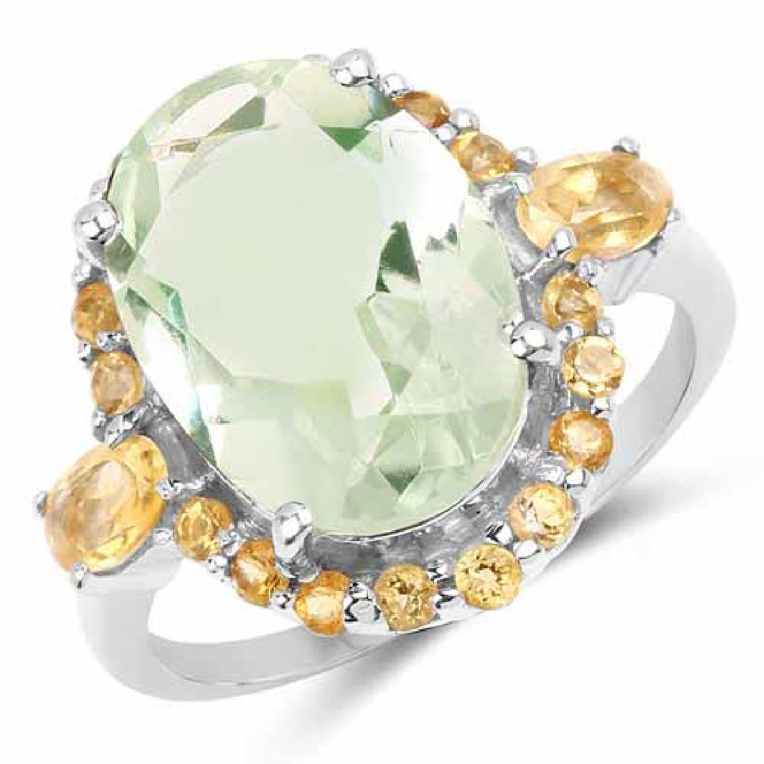 6.04 Carat Genuine Green Amethyst and Citrine .925 Ster