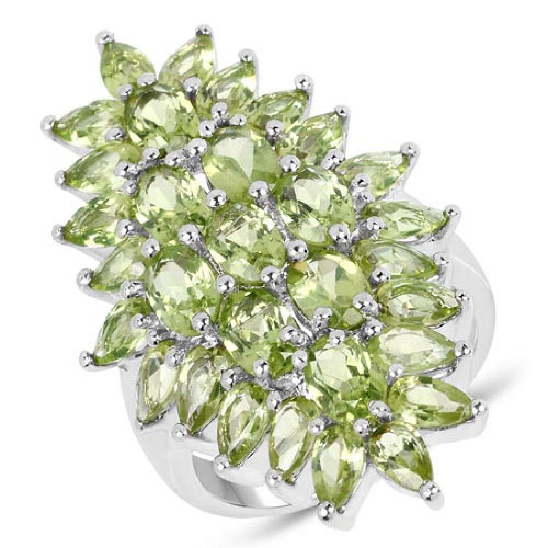 8.89 Carat Genuine Peridot .925 Sterling Silver Ring
