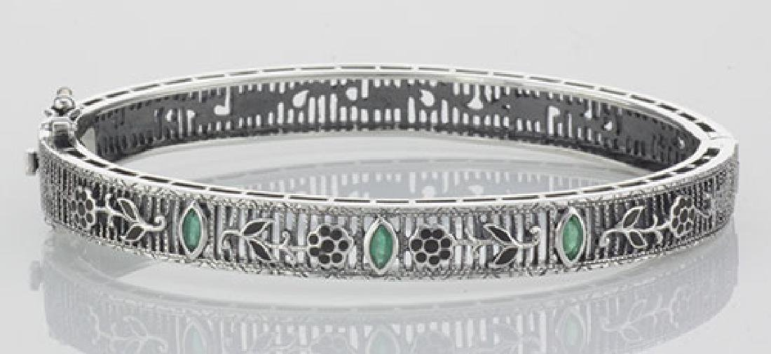 Victorian Style Floral Filigree Emerald Bangle Bracelet