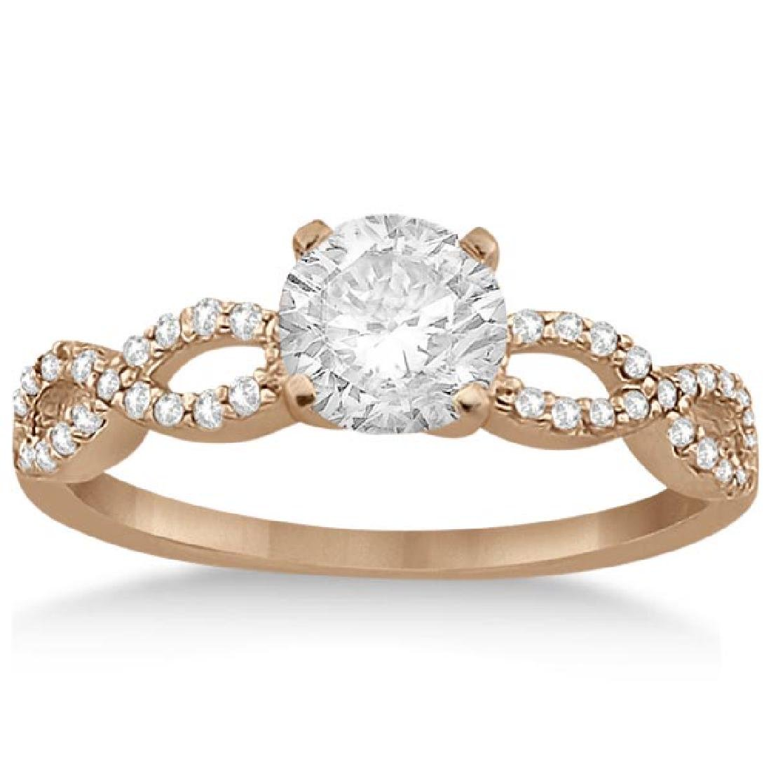 Twisted Infinity Diamond Engagement Ring 14K Rose Gold