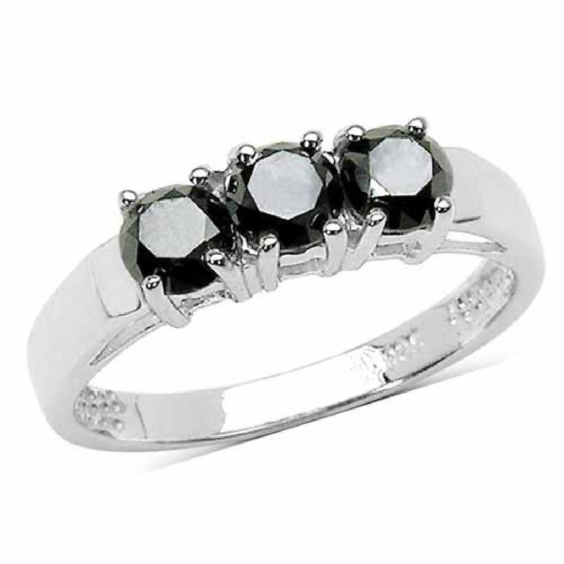 1.18 Carat Genuine Black Diamond .925 Sterling Silver R