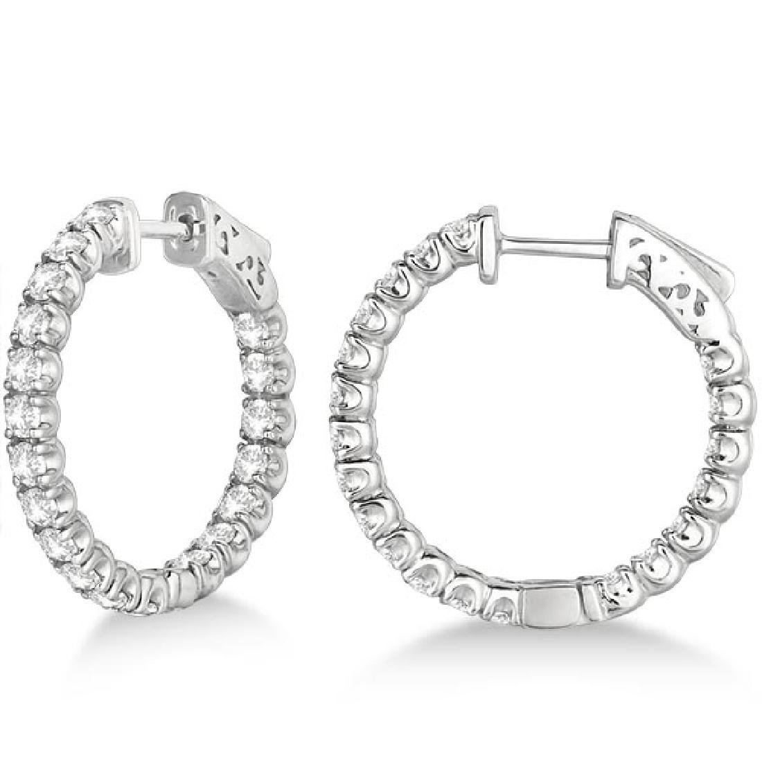 Small Fancy Round Diamond Hoop Earrings 14k White Gold