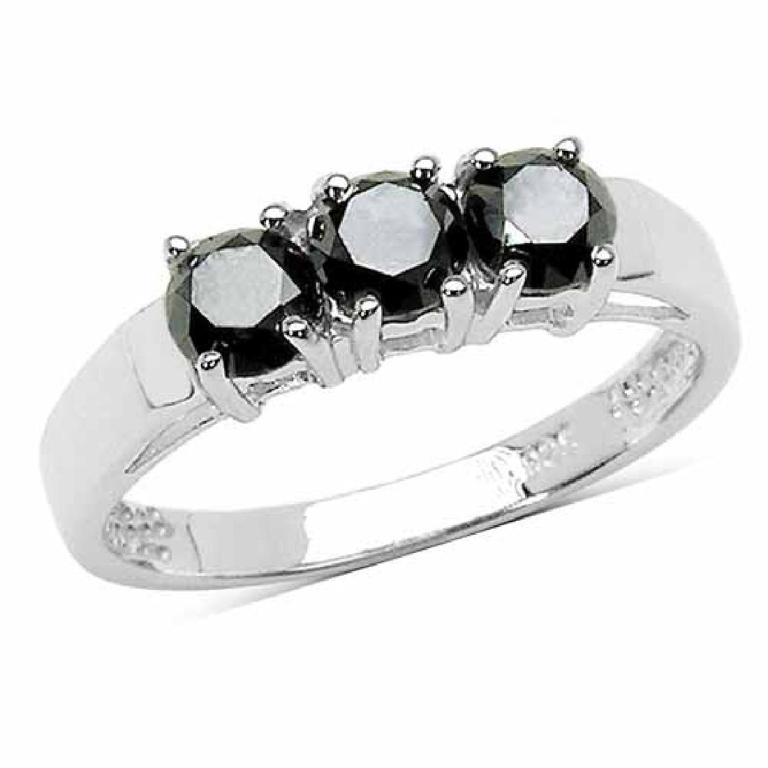 1.19 Carat Genuine Black Diamond .925 Sterling Silver R