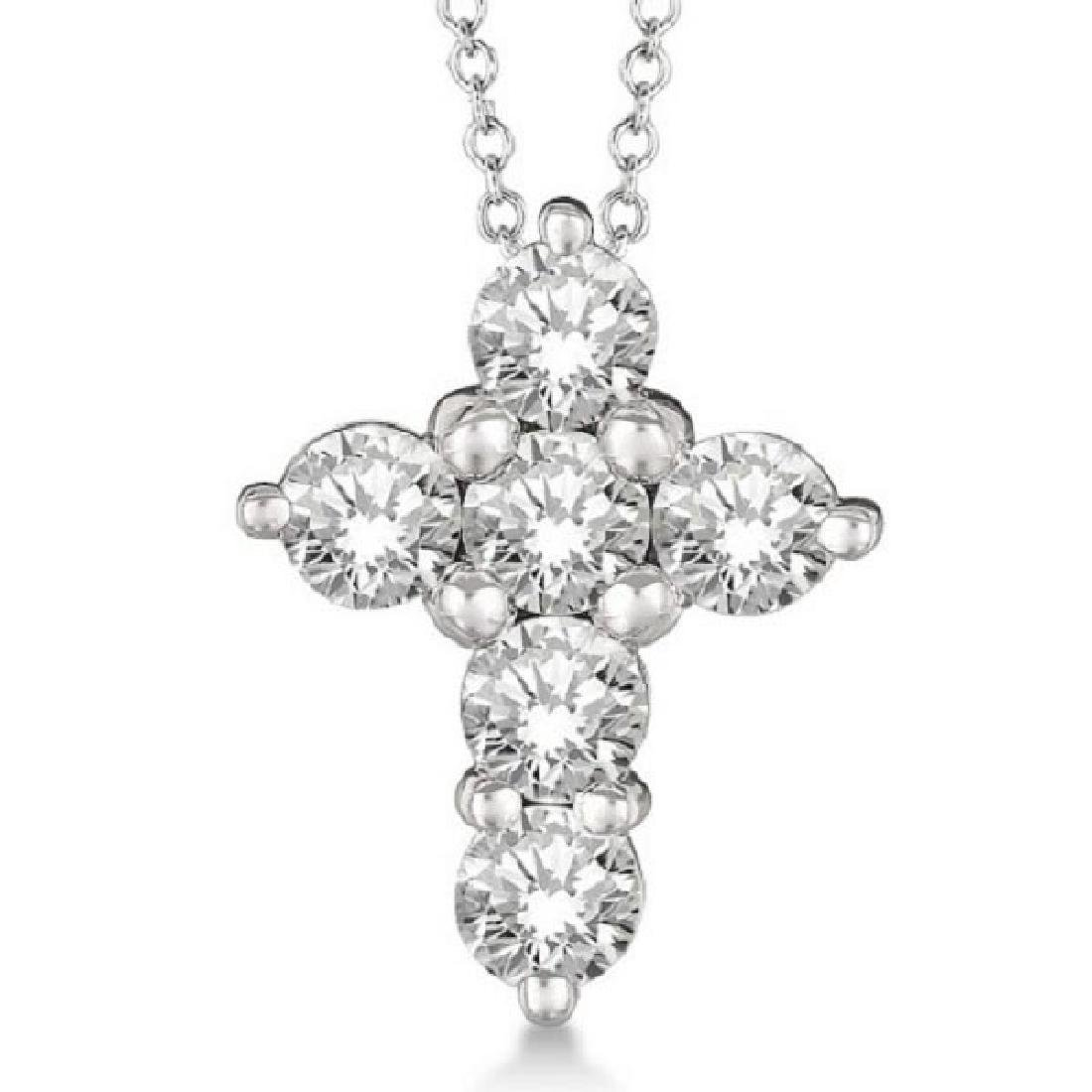Prong Set Round Diamond Cross Pendant Necklace 14k Whit