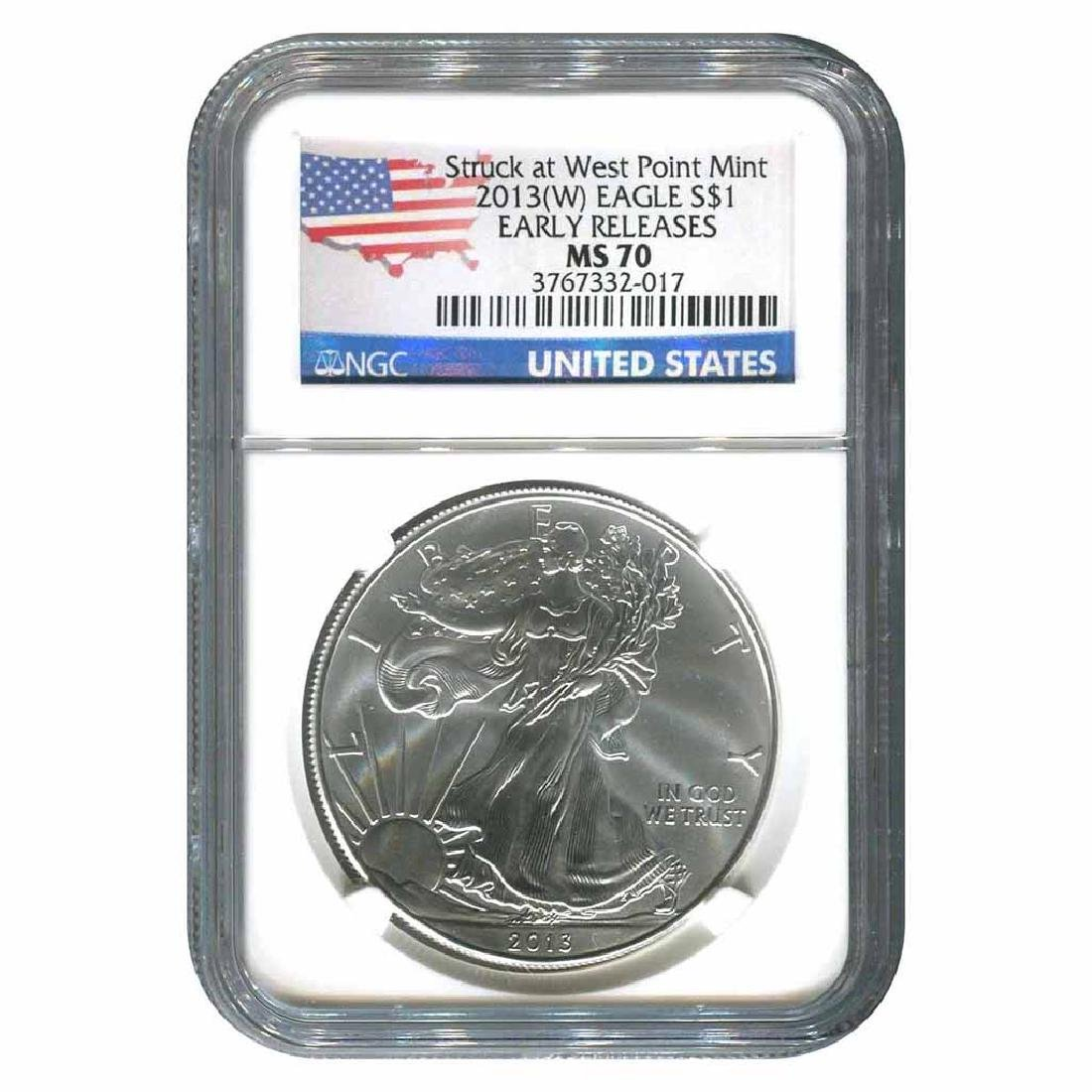 Certified Uncirculated Silver Eagle 2013 MS70 NGC Early