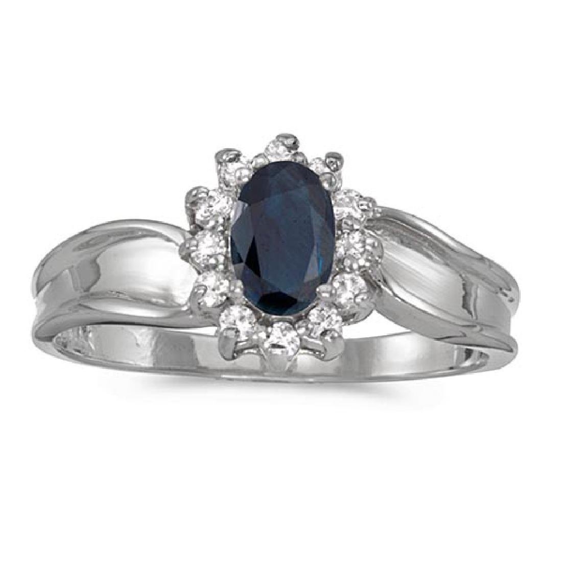 Certified 14k White Gold Oval Sapphire And Diamond Ring