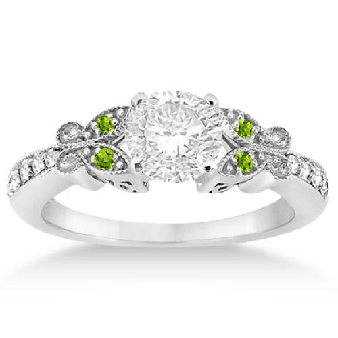 Butterfly Diamond and Peridot Engagement Ring 14k White