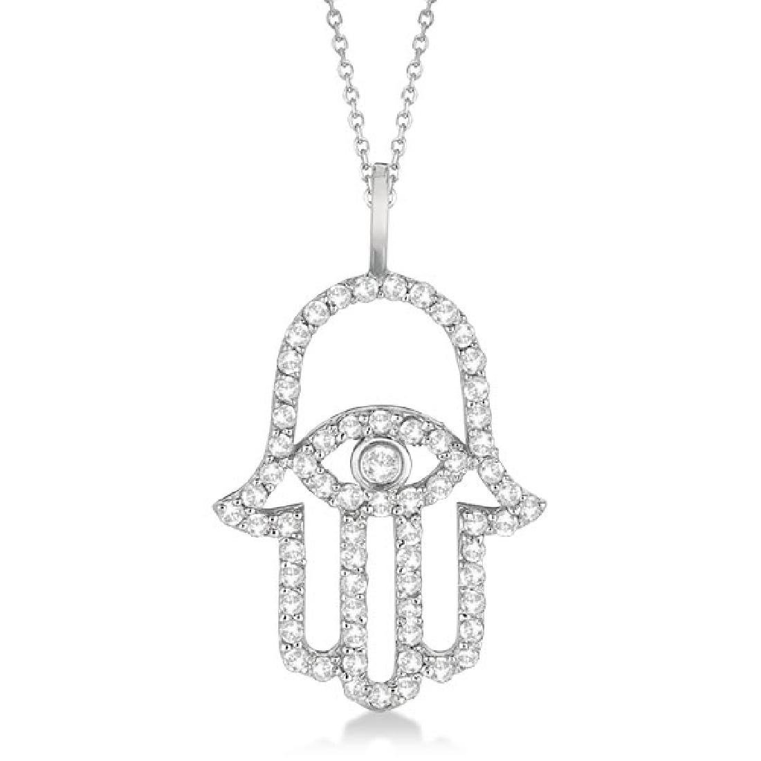 Diamond Hamsa Evil Eye Pendant Necklace 14k White Gold