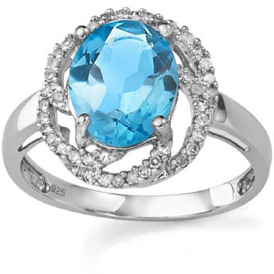 3.16 CT BLUE TOPAZ & 2 PCS WHITE DIAMOND PLATINUM OVER