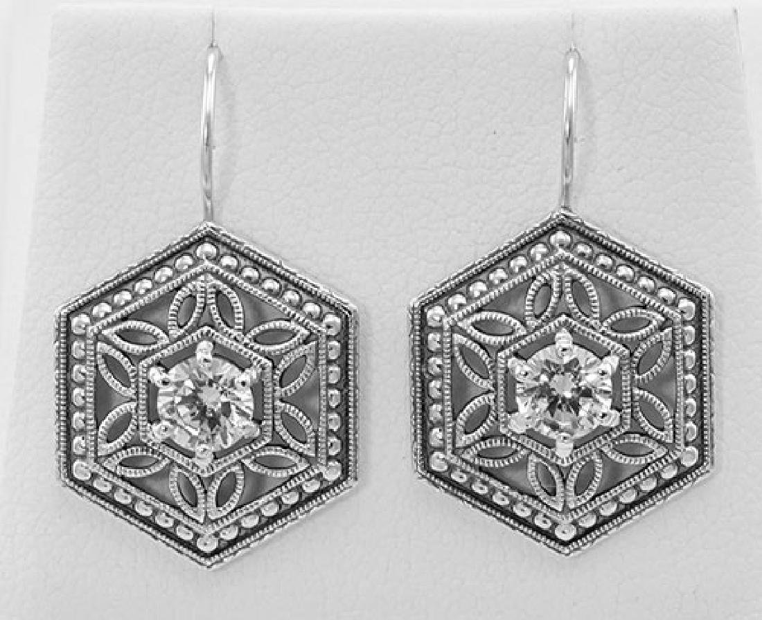 Filigree Earrings w/ CZ - Sterling Silver