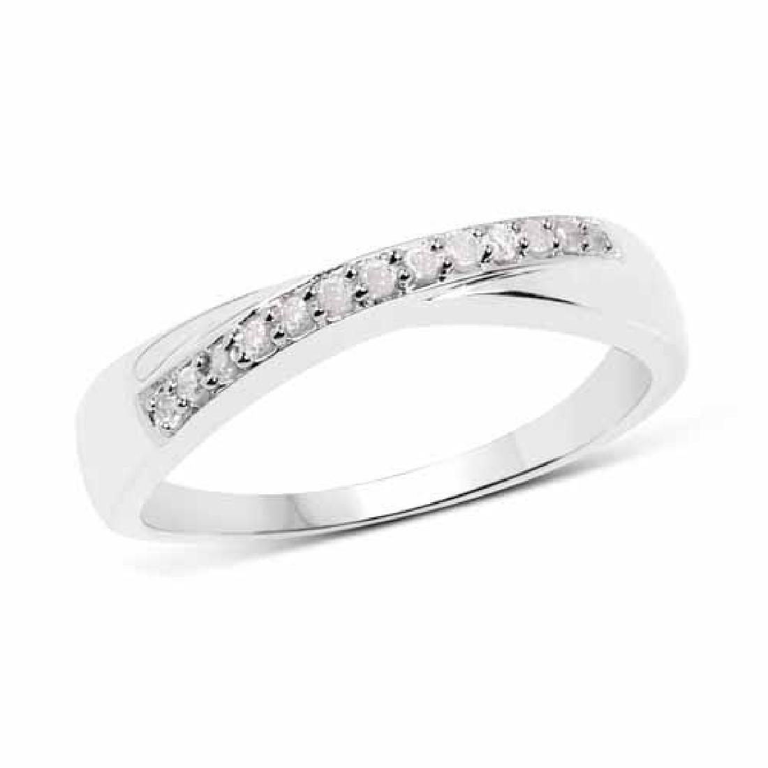 0.09 Carat Genuine White Diamond .925 Sterling Silver R