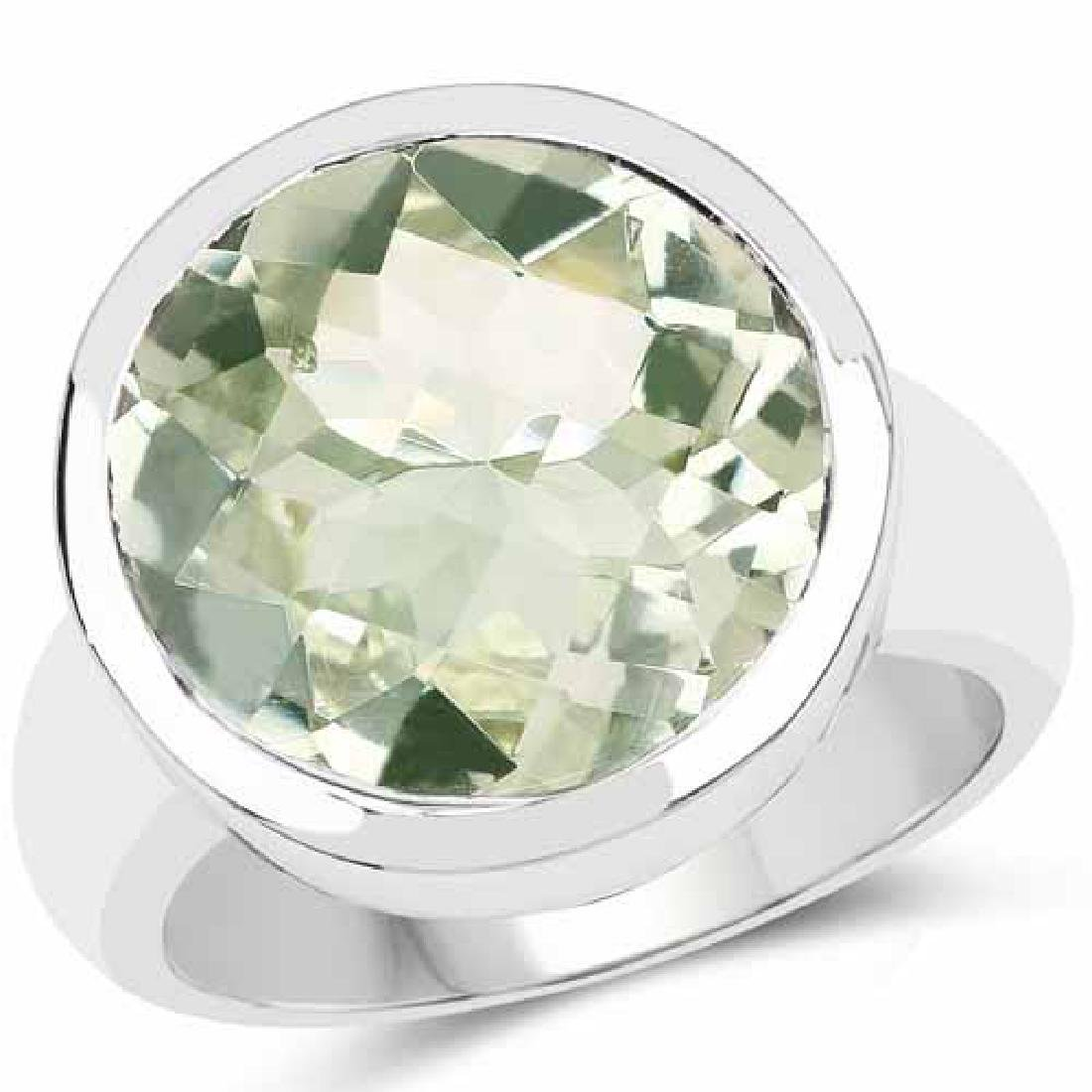 9.00 Carat Genuine Green Amethyst .925 Sterling Silver