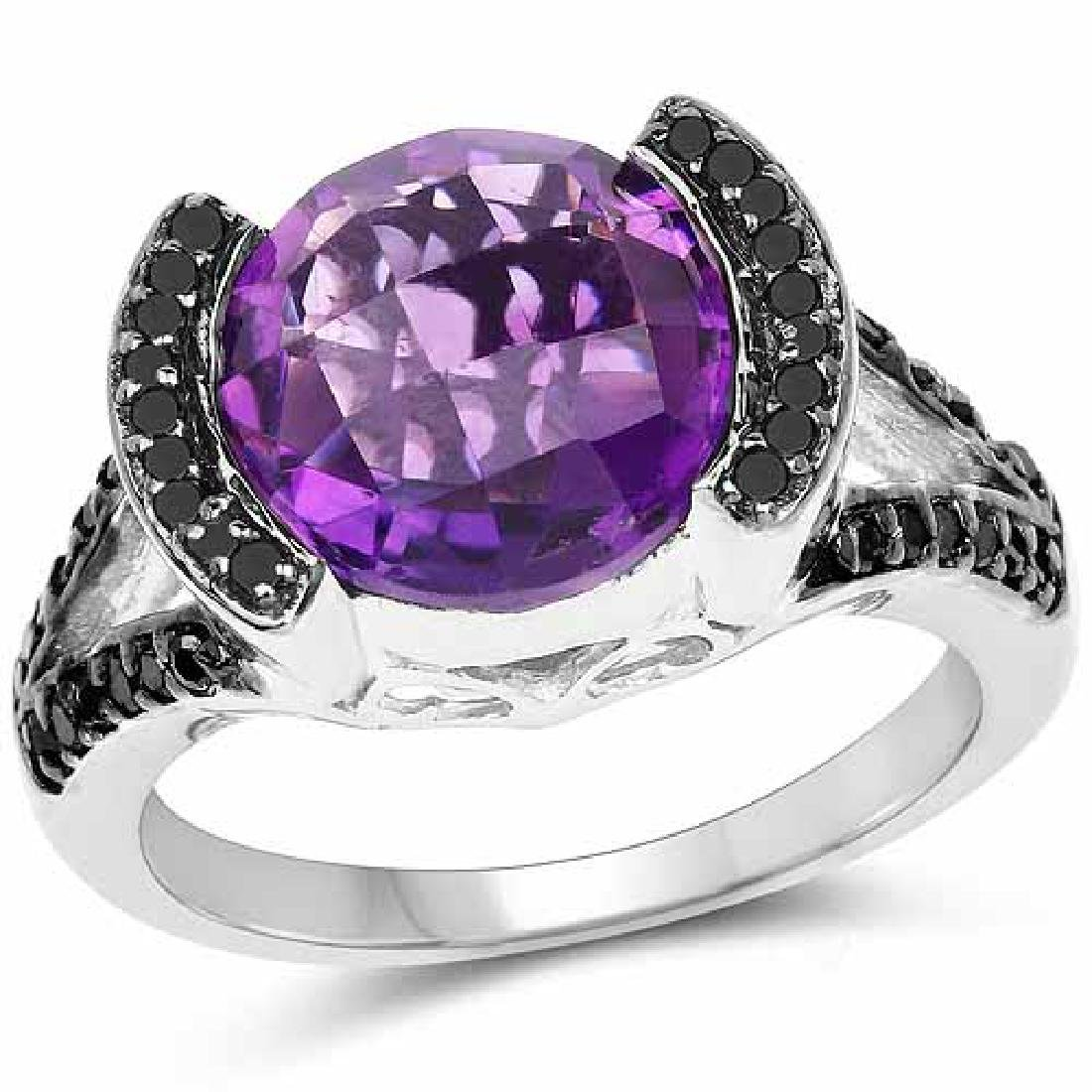 3.24 Carat Genuine Amethyst Black Diamond and White D
