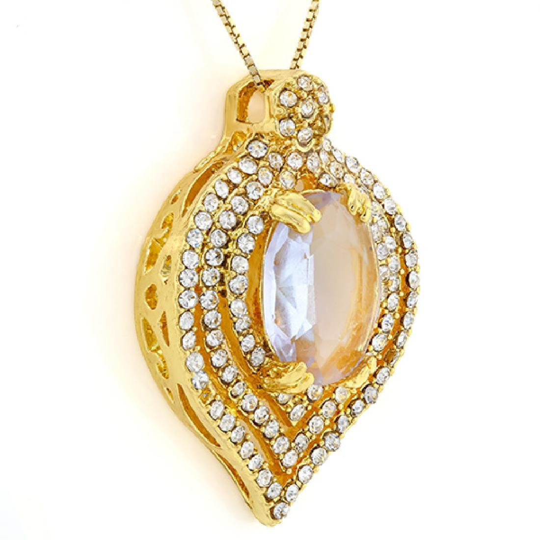 CREATED PINK AMETHYST & FLAWLESS CREATED DIAMOND 18K GO