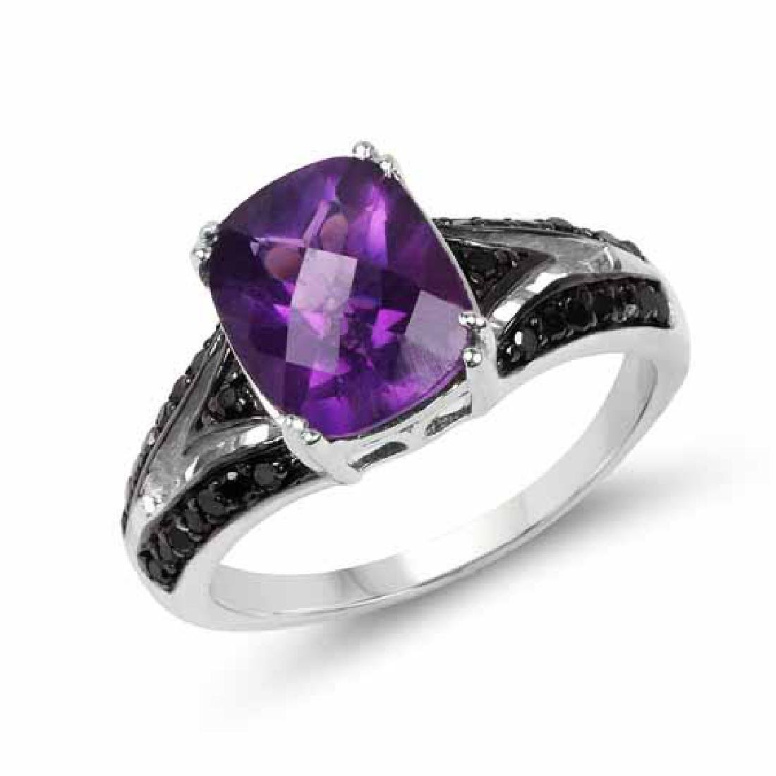 2.87 Carat Genuine Amethyst Black Diamond and White Di
