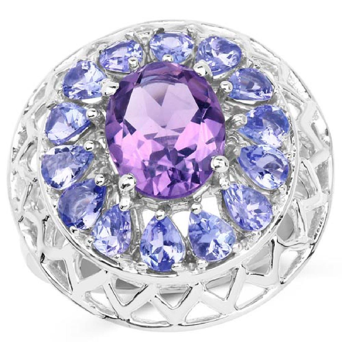 4.11 Carat Genuine Amethyst and Tanzanite .925 Sterling