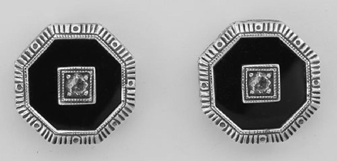 Classic Art Deco Filigree Black Onyx and CZ Earrings -