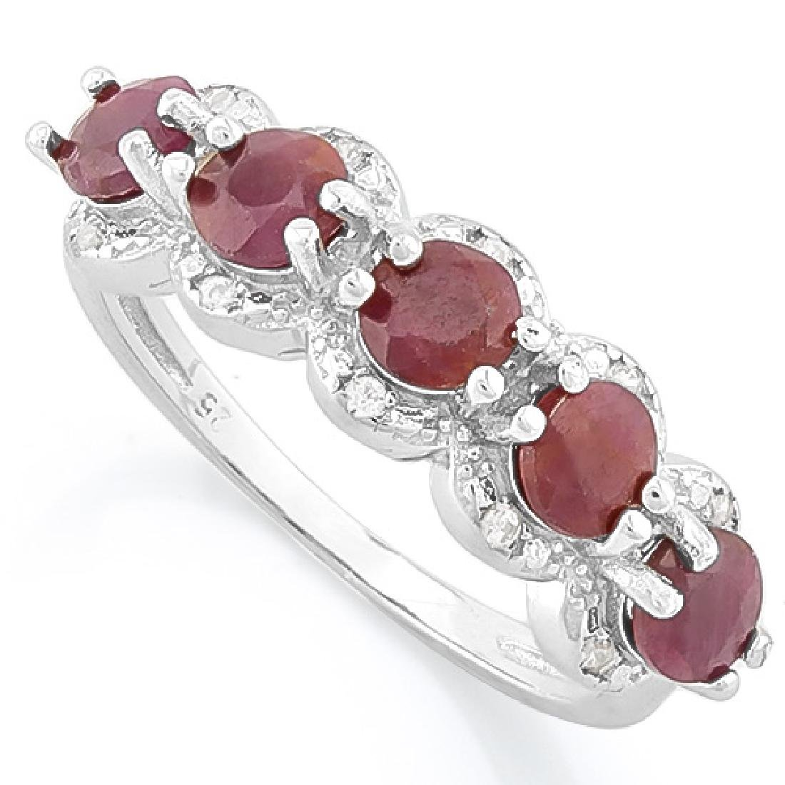 9 1/5 CARAT RUBY & DIAMOND 925 STERLING SILVER RING