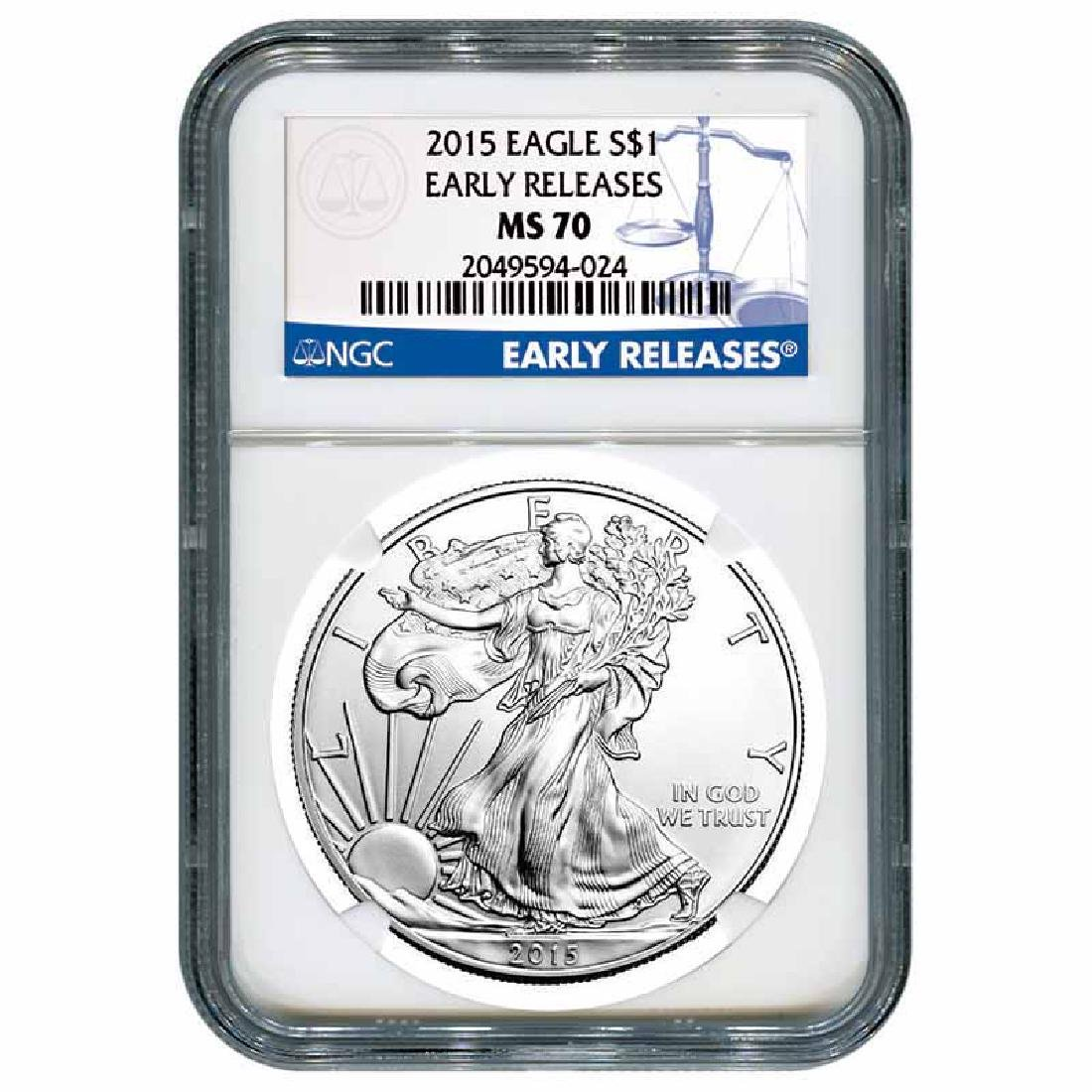 Certified Uncirculated Silver Eagle 2015 MS70 NGC Early