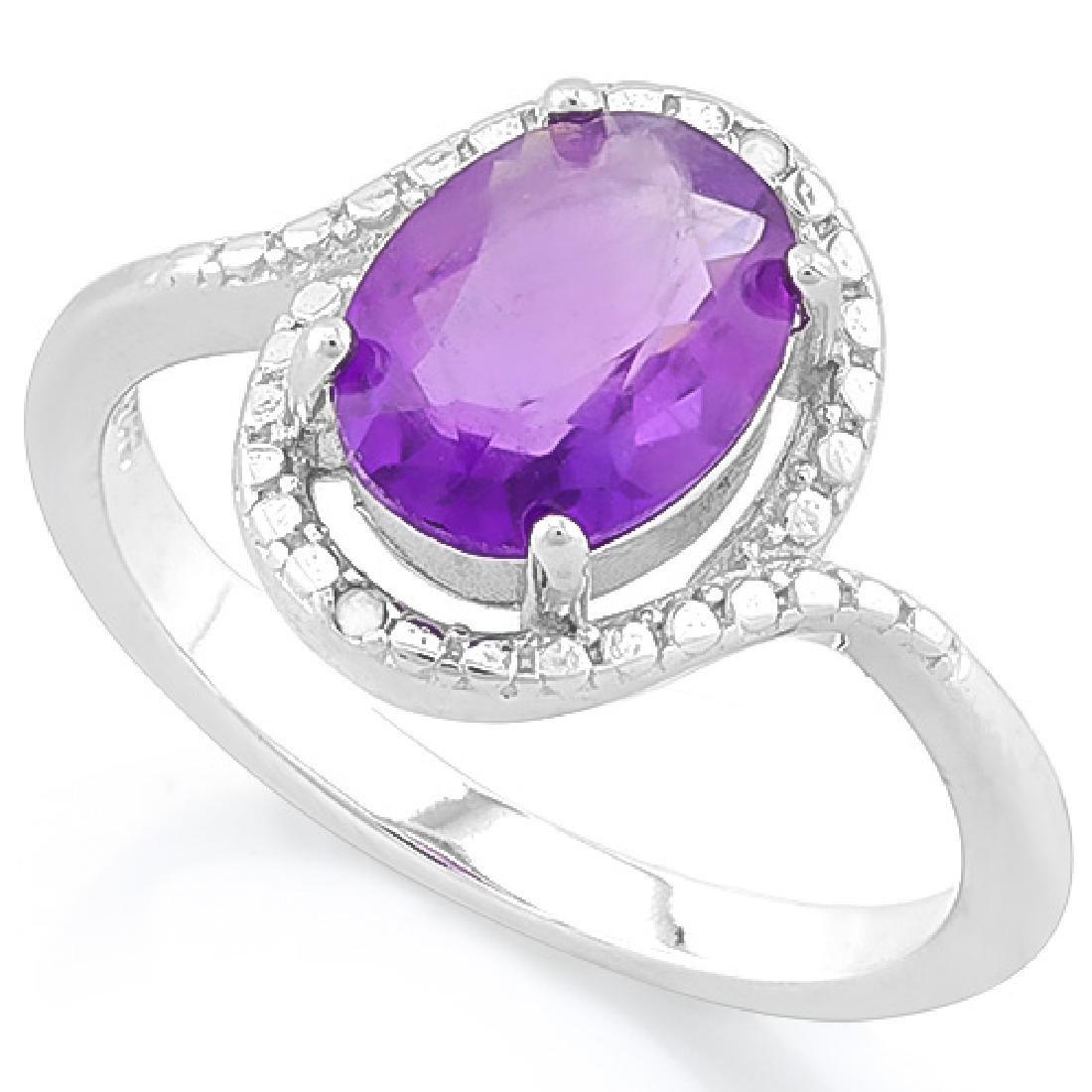 1 3/5 CARAT AMETHYST & GENUINE DIAMONDS 925 STERLING SI