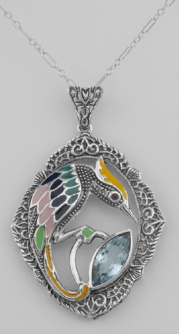 Filigree Enamel Bird Pendant w/ 3 Carat Blue Topaz - St