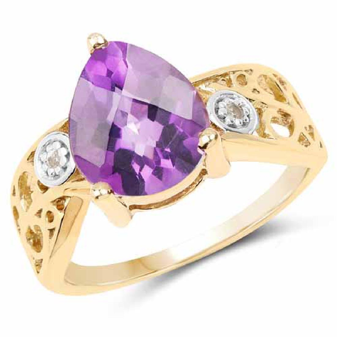 14K Yellow Gold Plated 1.63 Carat Genuine Amethyst and