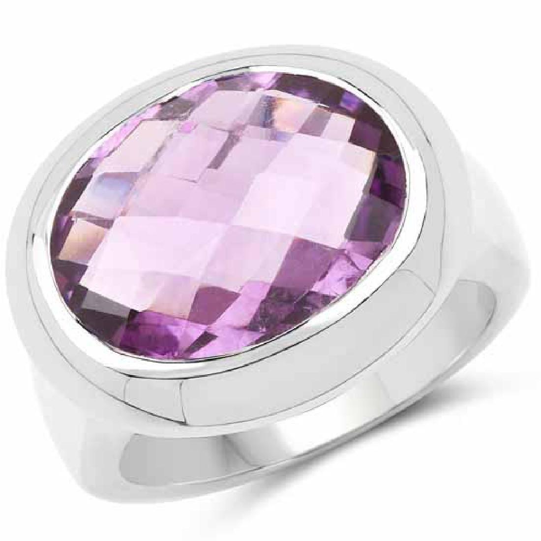8.25 Carat Genuine Amethyst .925 Sterling Silver Ring