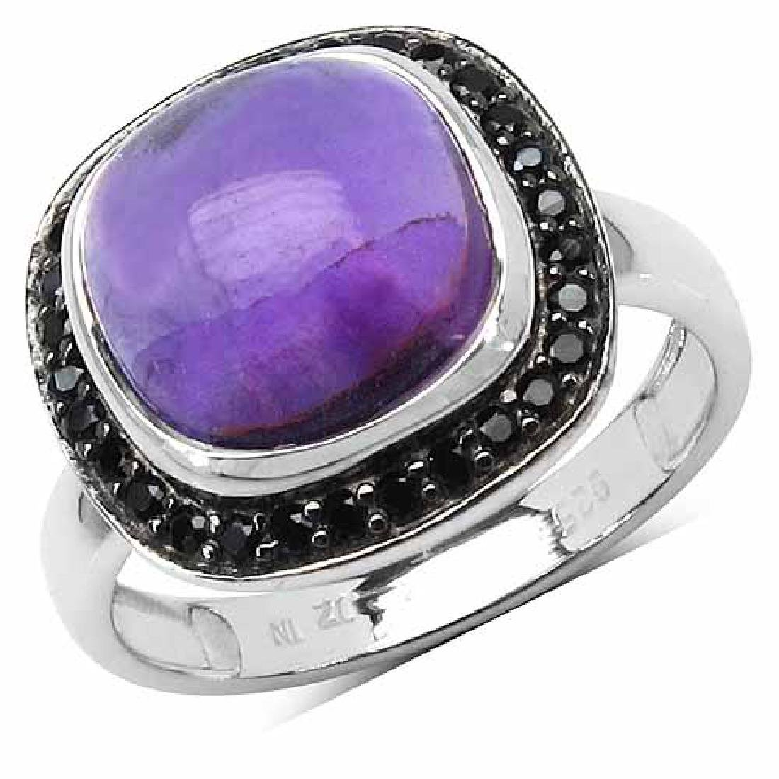 5.25 Carat Genuine Amethyst & Black Spinel .925 Strelin