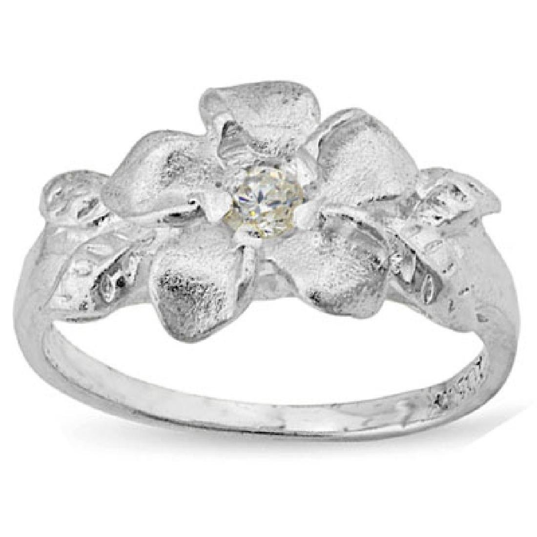 PLUMERIA RING WITH 0.925 STERLING SILVER PLATINUM OVER