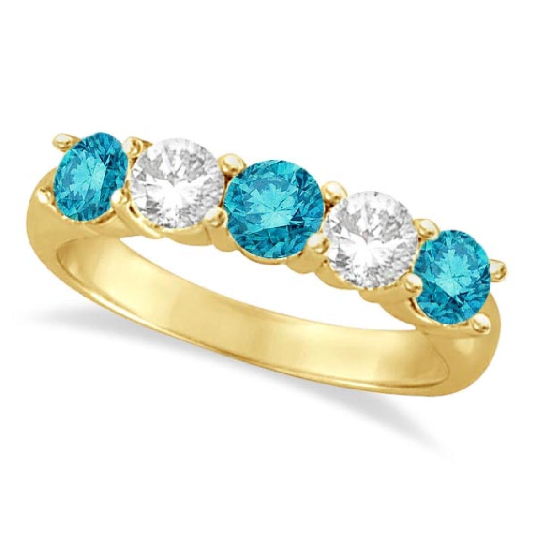 Five Stone White and Blue Diamond Ring 14k Yellow Gold