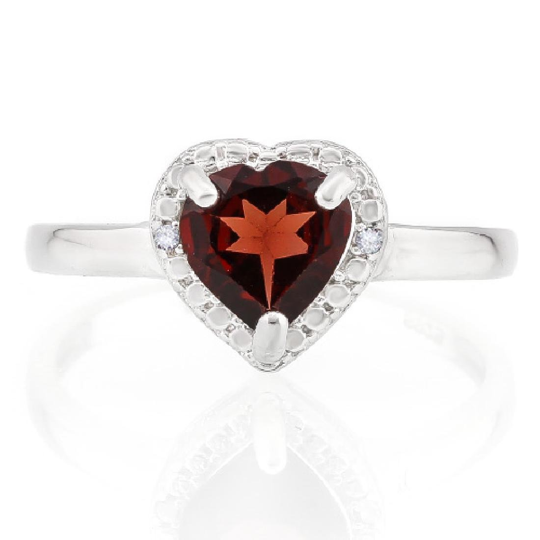 1 1/4 CARAT GARNET & DIAMOND 925 STERLING SILVER RING