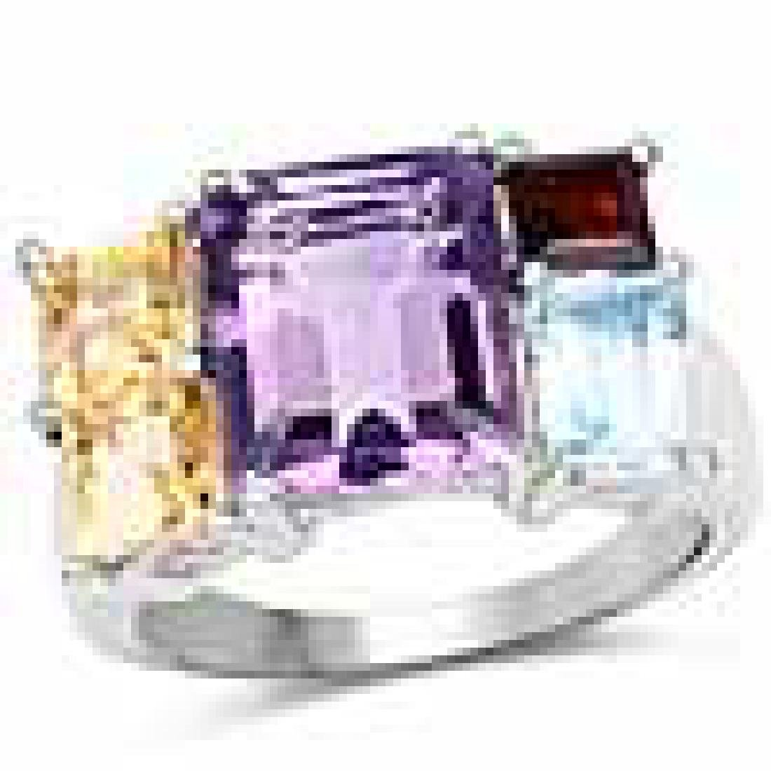 6.57 Carat Genuine Multi Stones .925 Sterling Silver Ri