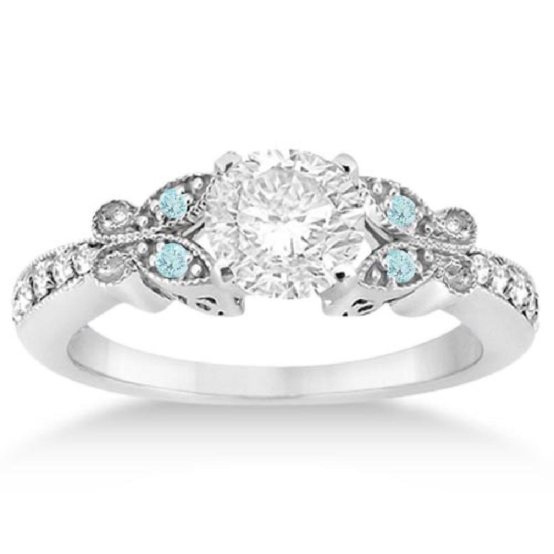 Butterfly Diamond and Aquamarine Engagement Ring 14k Wh