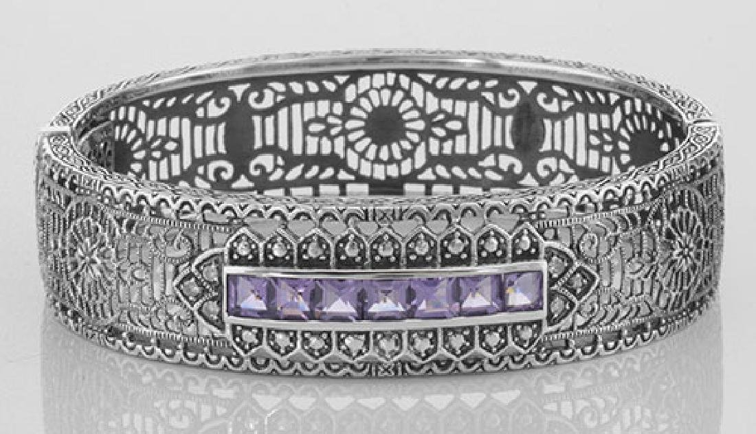Art Deco Style Filigree Bangle Amethyst / Diamond Sterl