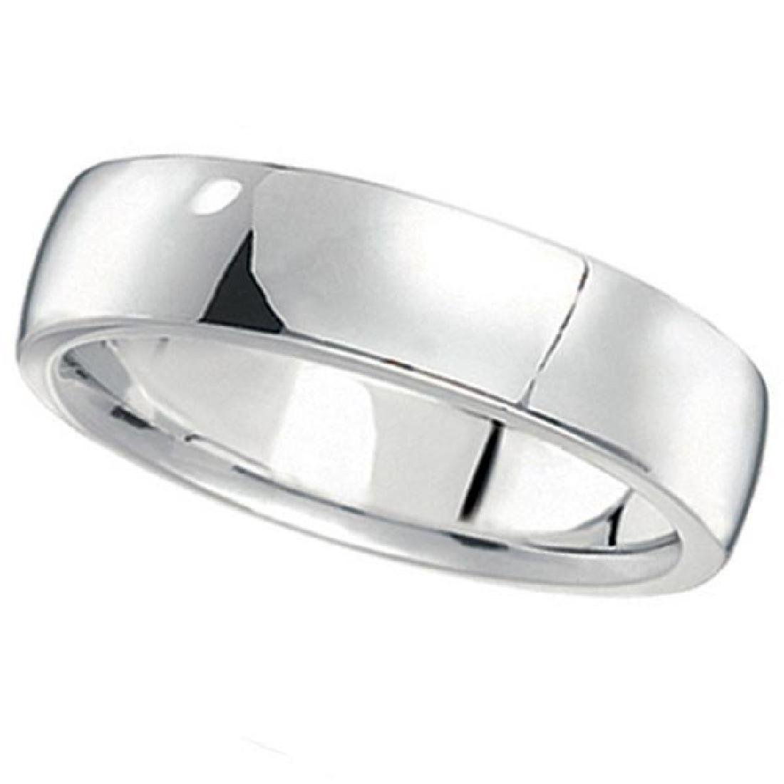 14k White Gold Wedding Ring Low Dome Comfort Fit (5 mm)