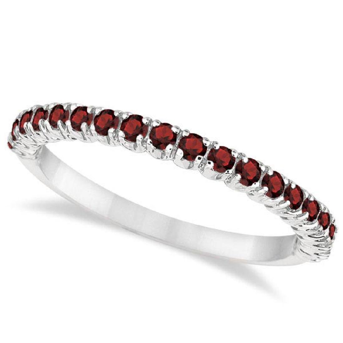 Half-Eternity Pave-Set Thin Garnet Stacking Ring 14k Wh