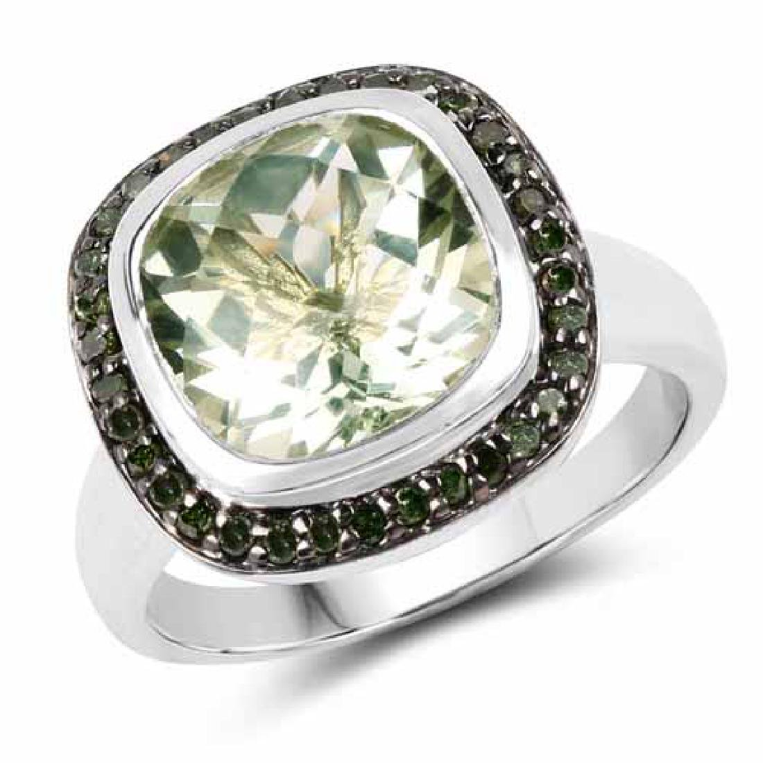 5.19 Carat Genuine Green Amethyst and Green Diamond .92