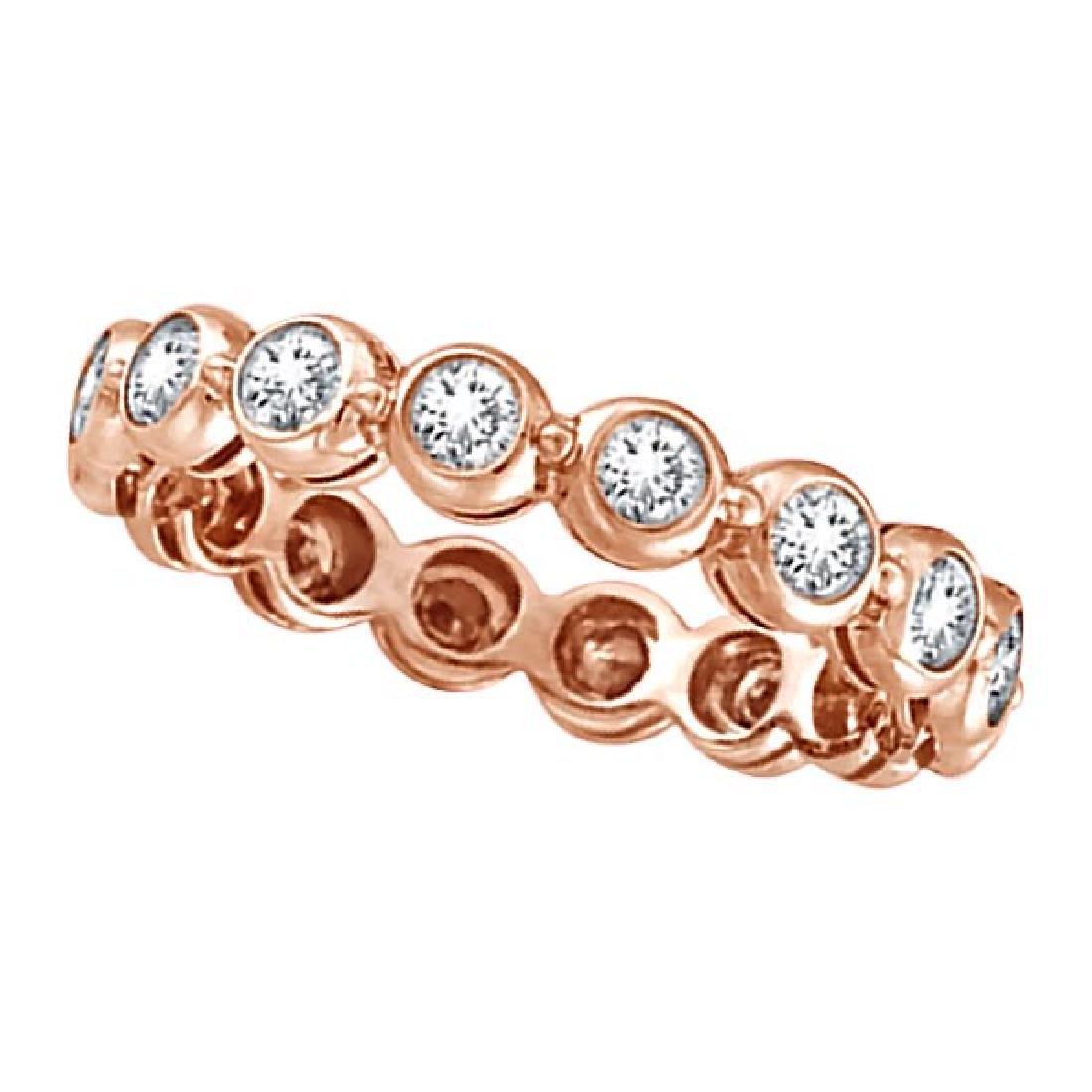Bezel-Set Diamond Eternity Ring Band 14k Rose Gold (1.0
