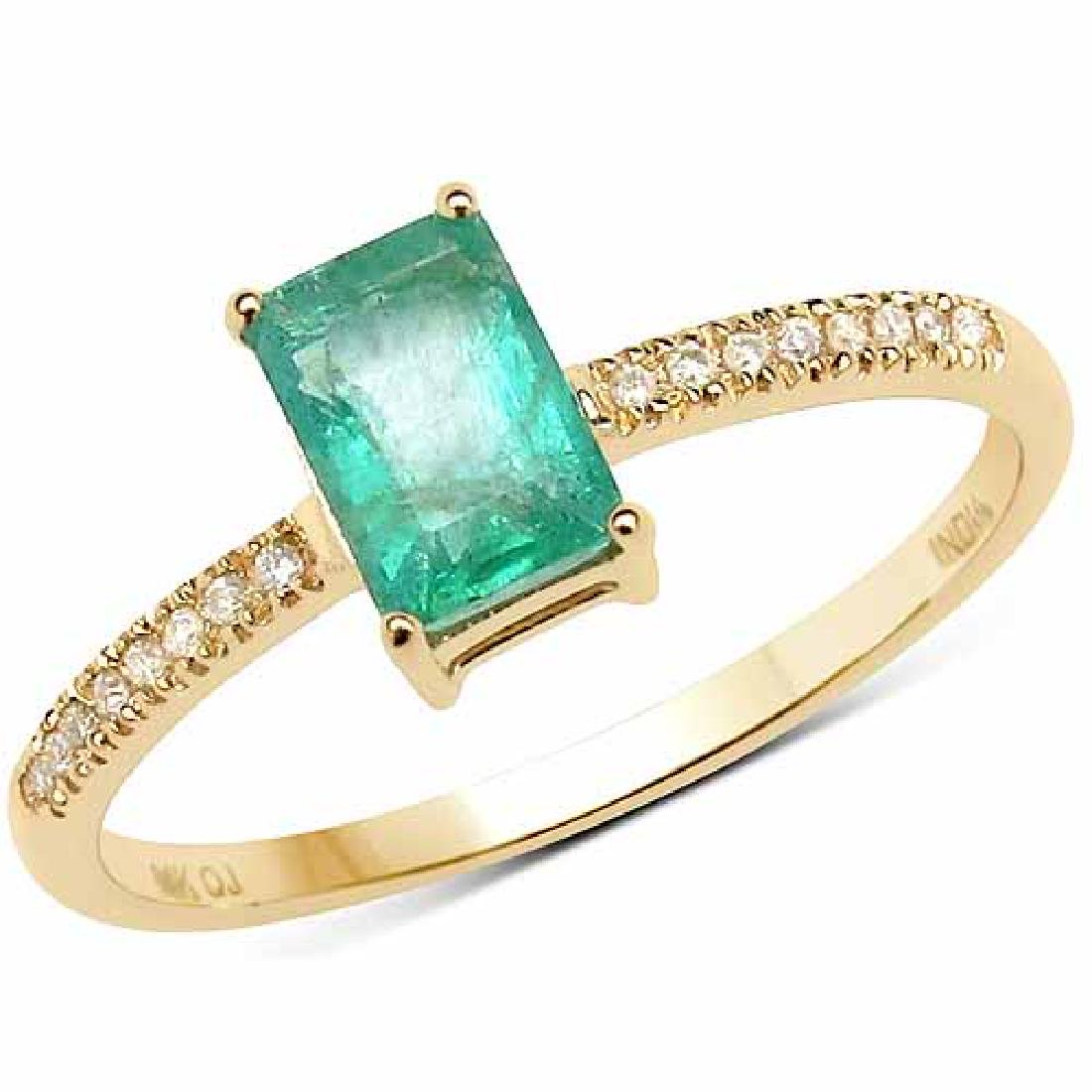 0.60 Carat Genuine Zambian Emerald and White Diamond 14