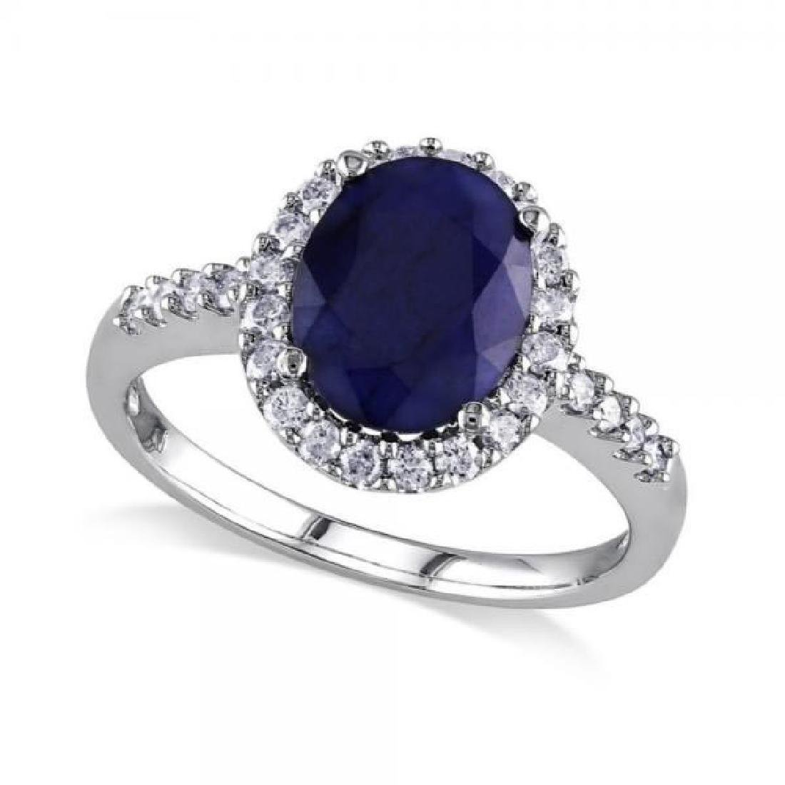 Oval Blue Sapphire and Halo Diamond Engagement Ring 14k