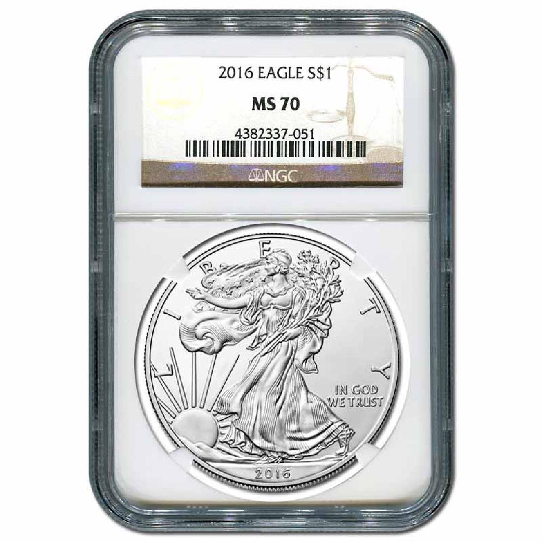 Certified Uncirculated Silver Eagle 2016 MS70 NGC