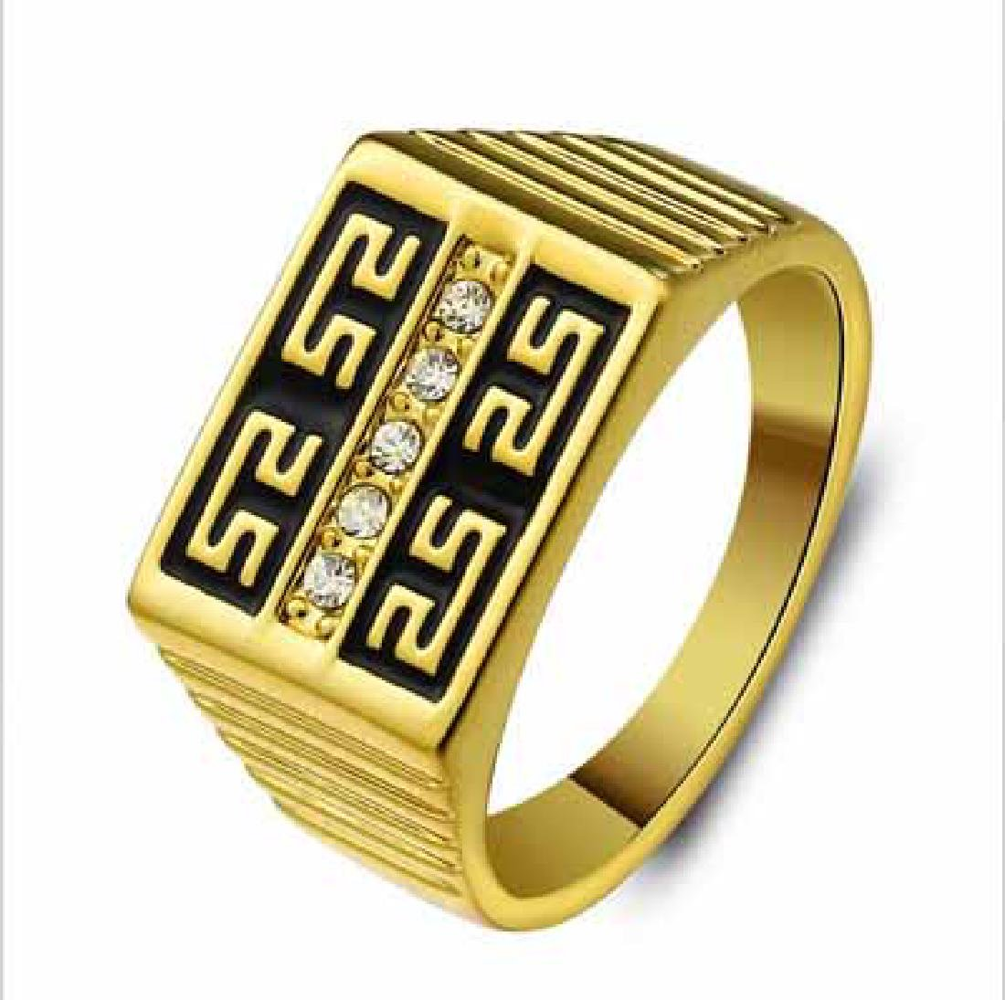 HIGH-GRADE RETRO MENS WALL PATTERN YELLOW GOLD PLATED T