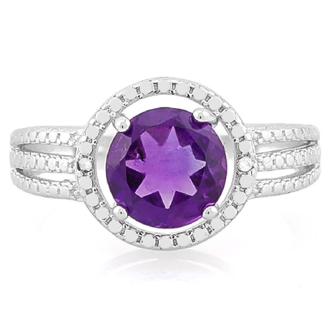 1 4/5 CARAT AMETHYST & DIAMOND 925 STERLING SILVER RING