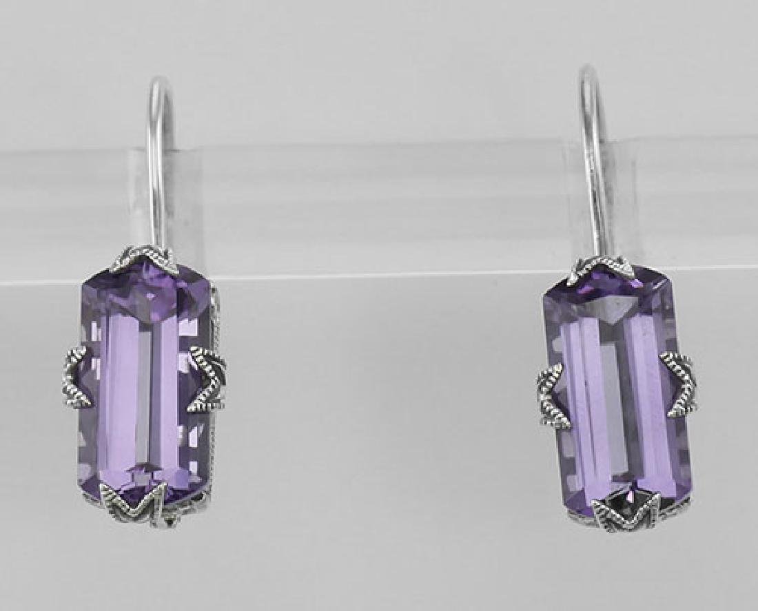 Art Deco Style Amethyst Filigree Earrings - Sterling Si