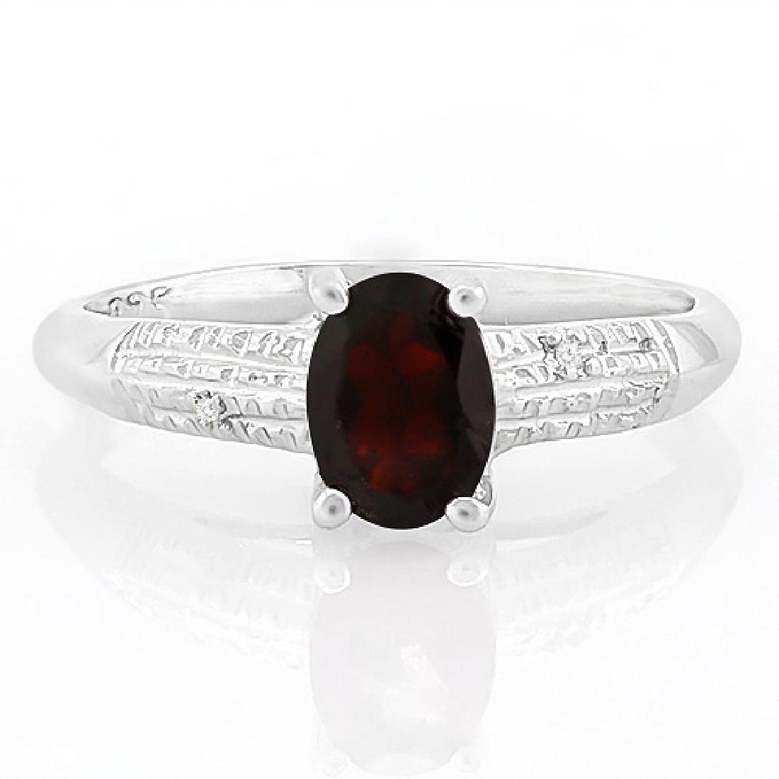 4/5 CARAT GARNET & DIAMOND 925 STERLING SILVER RING