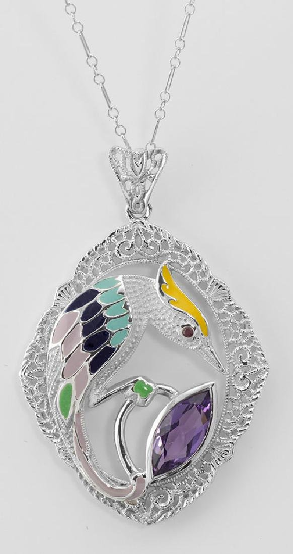 Filigree Enamel Bird Pendant w/ 3 Carat Amethyst - Ster
