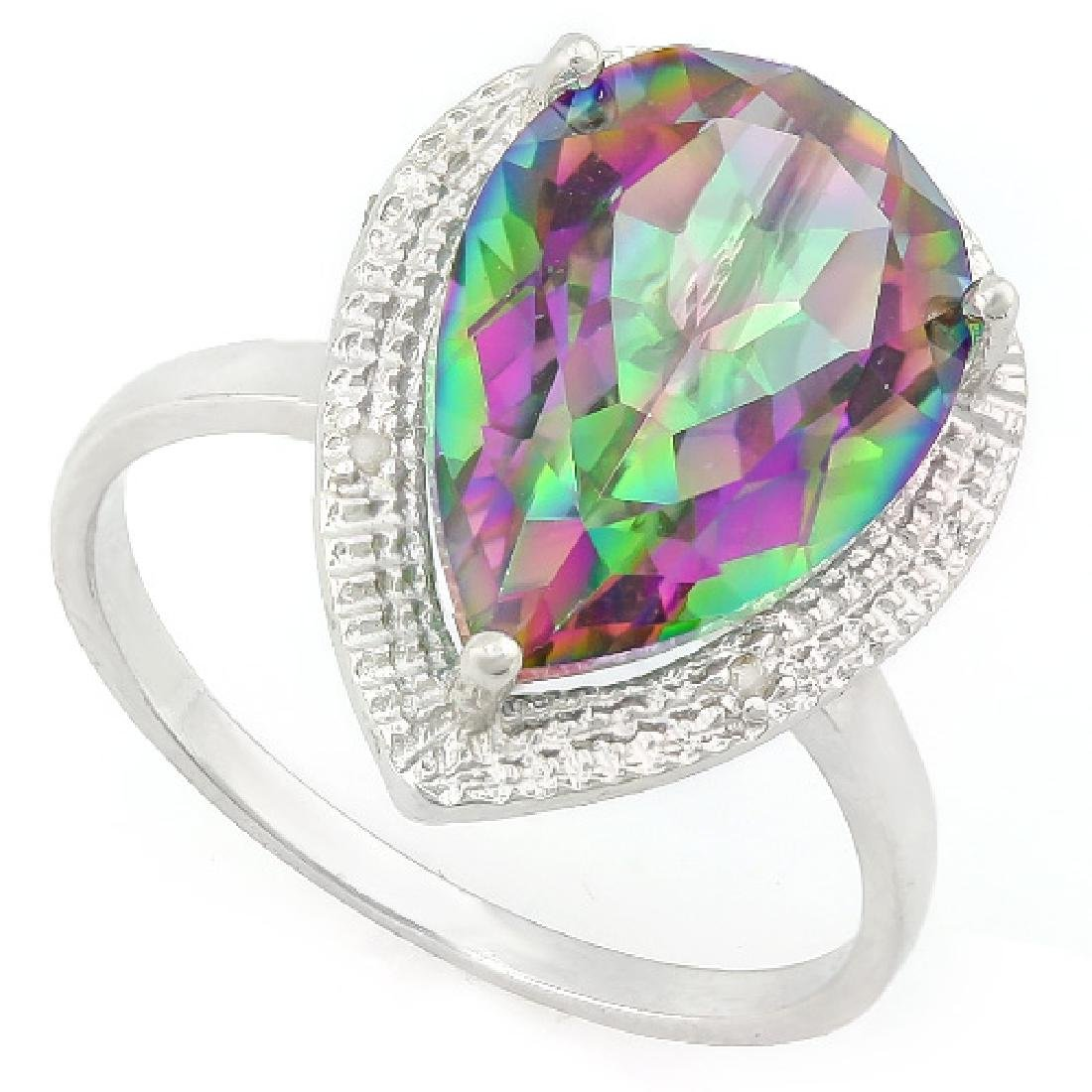 5 1/5 CARAT MYSTIC GEMSTONE & DIAMOND 925 STERLING SILV